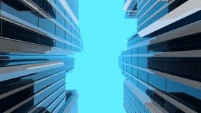 3D illustration av moderna skyskrapor - vertikal sammansättning Royaltyfria Bilder