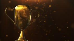 3D illustration Award, Trophy isolated on orange background stock illustration