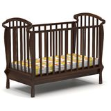 3d illustration baby crib on white. 3d illustration wooden brown baby crib Stock Photo