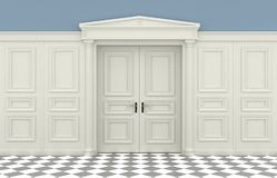 Classic wall with wooden panelling royalty free illustration