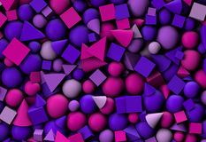 3d illustration background with color geometric shapes. 3d illustration texture with geometric shapes, cones, cubes and spheres Stock Image