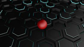 3D illustration of a background of many black hexagons with a thin luminous strip. On hexagons, geometric shapes is a red ball, sp royalty free illustration
