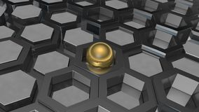 3D illustration of a background of the plurality of platinum metal and gold ball, a sphere. The idea of business, wealth and prosp. Erity, a complex banking and royalty free illustration
