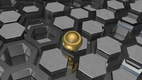 3D illustration of a background of the plurality of platinum metal and gold ball, a sphere. The idea of business, wealth and prosp. Erity, a complex banking and stock illustration