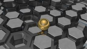 3D illustration of a background of the plurality of platinum metal and gold ball, a sphere. The idea of business, wealth and prosp. Erity, a complex banking and vector illustration