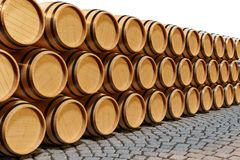3D Illustration background wooden barrels wine. Alcoholic drink in wooden barrels, such as wine, cognac, rum, brandy. 3D Illustration background wooden barrels Royalty Free Stock Image