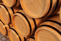 3D Illustration background wooden barrels wine. Alcoholic drink in wooden barrels, such as wine, cognac, rum, brandy. 3D Illustration background wooden barrels Royalty Free Stock Photos