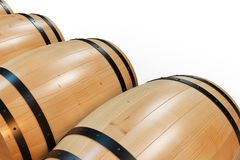 3D Illustration background wooden barrels wine. Alcoholic drink in wooden barrels, such as wine, cognac, rum, brandy. 3D Illustration background wooden barrels Stock Photos