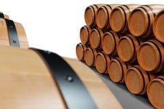 3D Illustration background wooden barrels wine. Alcoholic drink in wooden barrels, such as wine, cognac, rum, brandy. 3D Illustration background wooden barrels vector illustration