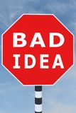 Bad Idea concept. 3D illustration of BAD IDEA title on road sign Stock Photo