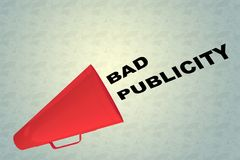BAD PUBLICITY concept. 3D illustration of BAD PUBLICITY title flowing from a loudspeaker Stock Image