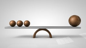 3d illustration of Balancing balls on board conception. Balance concept Stock Photo