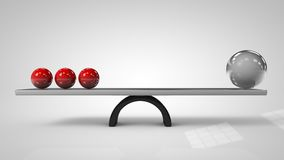 3d illustration of Balancing balls on board conception. Balance concept vector illustration