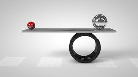 3d illustration of Balancing balls on board conception. Balance concept Royalty Free Stock Photo