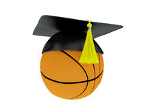 3D Illustration of Ball With Graduation Cap isolated on white. Royalty Free Stock Photo
