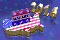 3D Illustration Ballot box in shape of USA map with USA flag Royalty Free Stock Photography