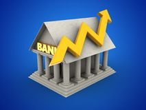 3d blank. 3d illustration of Bank over blue background with arrow graph Stock Photography