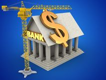 3d Bank. 3d illustration of Bank over blue background with dollar sign and crane Stock Photography
