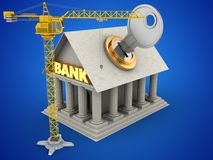 3d key. 3d illustration of Bank over blue background with key and crane Royalty Free Stock Photo
