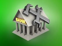 3d bank. 3d illustration of Bank over green background with repair symbol Stock Photos