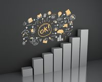 3d ar graph with business sketch. 3d illustration. Bar graph with business sketch at wall. Business concept Stock Images
