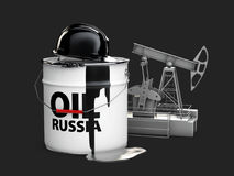 3d illustration of barrel russian oil with oil pump, isolated black. 3d illustration of barrel russian oil with oil pump. isolated black Royalty Free Stock Photo