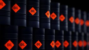 3d illustration of barrels with crude oil.  Stock Photography
