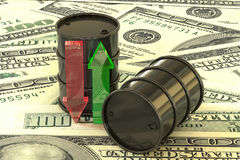 3d illustration: barrels of oil lie on banknotes of us dollar. Money. Transparent glass arrows green, red. Quotes go up and down. Petroleum business, gasoline Royalty Free Stock Photo