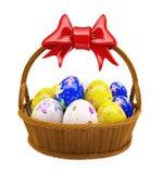 3d Illustration Basket with Easter egg. 3d basket with Easter egg Stock Photos