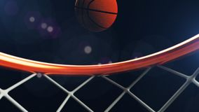 3D illustration of Basketball ball falling in a hoop.  Royalty Free Stock Image