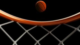 3D illustration of Basketball ball falling in a hoop.  Stock Image