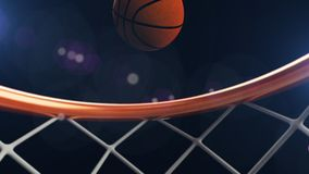 3D illustration of Basketball ball falling in a hoop.  Royalty Free Stock Photo