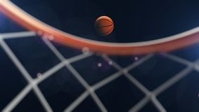 3D illustration of Basketball ball falling in a hoop.  Royalty Free Stock Photos