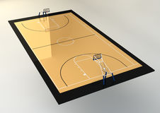 3d Illustration of Basketball Court Royalty Free Stock Photos