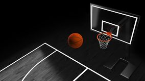 3D illustration of Basketball hoop in a professional basketball arena.  stock illustration