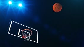 3D illustration of Basketball hoop in a professional basketball arena.  royalty free illustration