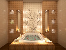 3d illustration of bath with rose petals by candlelight. Royalty Free Stock Photos
