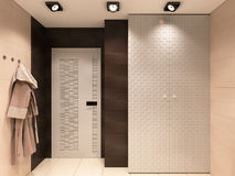 3D illustration of the bathroom in brown tones Stock Images