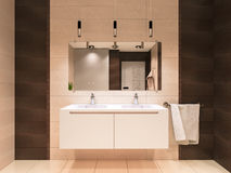 3D illustration of the bathroom in brown tones Stock Photo