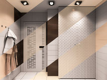 3D illustration of the bathroom in brown tones. 3D render of the bathroom in brown tones. Composition from visualization transition from the picture without to Stock Images