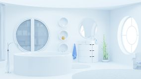 Modern white bathroom with skylight vector illustration