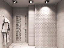 3D illustration of the bathroom without color and textures Royalty Free Stock Photos