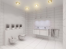 3D illustration of the bathroom without color and textures. 3D render of the bathroom without color and textures. Interior design of a bathroom is depicted in Royalty Free Stock Photo