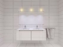 3D illustration of the bathroom without color and textures. 3D render of the bathroom without color and textures. Interior design of a bathroom is depicted in Stock Image