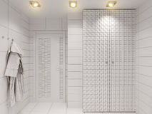 3D illustration of the bathroom without color and textures. 3D render of the bathroom without color and textures. Interior design of a bathroom is depicted in Stock Photos
