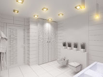 3D illustration of the bathroom without color and textures. 3D render of the bathroom without color and textures. Interior design of a bathroom is depicted in Royalty Free Stock Images