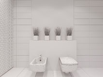 3D illustration of the bathroom without color and textures. 3D render of the bathroom without color and textures. Interior design of a bathroom is depicted in Stock Photo