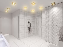 3D illustration of the bathroom without color and textures. 3D render of the bathroom without color and textures. Interior design of a bathroom is depicted in Royalty Free Stock Photography