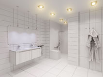 3D illustration of the bathroom without color and textures. 3D render of the bathroom without color and textures. Interior design of a bathroom is depicted in Royalty Free Stock Image