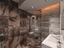 3d illustration bathroom in gray and brown stone with white bat Royalty Free Stock Images